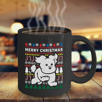 White Puppy Dog Coffee Mug 11oz Black Ceramic Cup, Merry Christmas, Tacky Christmas Sweater, Xmas, Dog, Gift