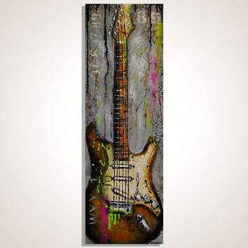 Gift for musician Guitar painting Gray and Brown Music Art Original cracked texture painting on canvas by Magda Magier