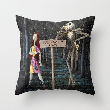 Halloween Town | Jack | Sally | Christmas | Nightmare Throw Pillow by Azima