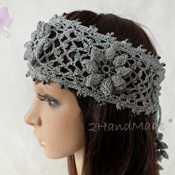 OOAK Irish Lace 3D Crochet Headband Dreadlock Head wrap Boho Wooden Beaded Women Grey Wedding Bridal Cotton Hair Snood