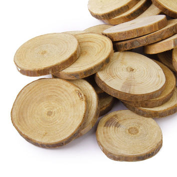 30pcs Wood Log Slices DIY Crafts Wedding Centerpieces Tree Rings Decoration