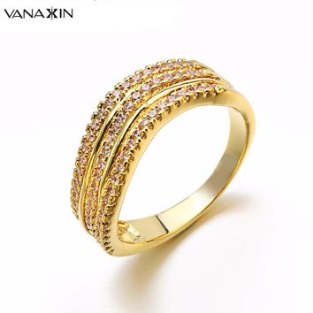 VANAXIN New Fashion Female Wedding Rings Bands Engagement Ring for Women CZ Stone Paved Three Hoops Promise Rings Fashion Jewels