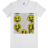 Melting Smileys-Female White T-Shirt