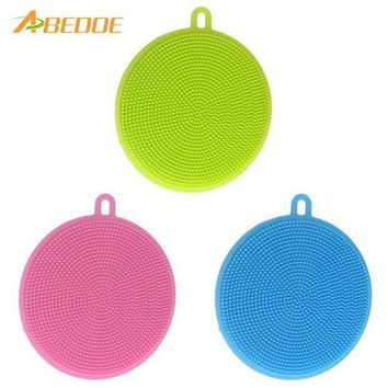 ICIKU7Q ABEDOE Food-grade Antibacterial Dishwashing Dish Brush Sponge Towel Scrubber For Kitchen Pot Pan Dish Bowl Fruit Vegetable