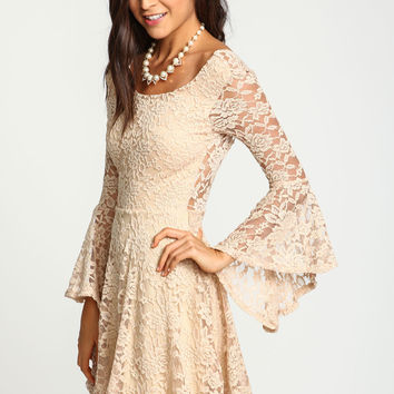 Natural Lacy Bell Sleeves Flare Dress