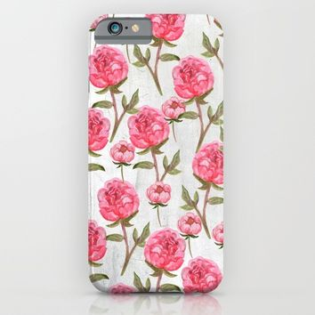 Pink Peonies On White Chalkboard iPhone & iPod Case by LaVieClaire