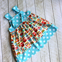 owl dress owl outfit  girls dress knot dress summer dress back to school fall outfit owl clothing owl birthday girls owl dress