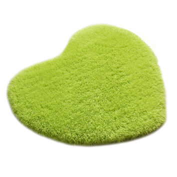 Solid Color Thick Fluff Heart Door Ground Foot Mat Carpet  fruit green  40*50cm
