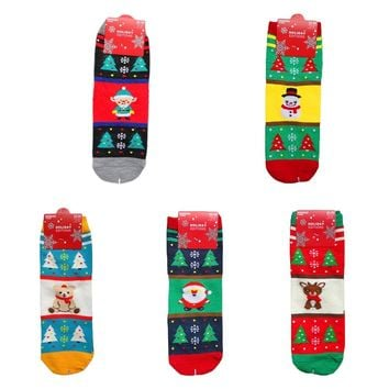 Christmas Women Socks Elk Snowflake Santa Claus Snowman Pattern Sock Cotton Middle Tube Socks Happy New Years Women's Clothing