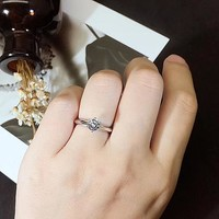 0.6 Carat 6 Prong Knife Edged Solitaire Promise Ring, Minimalist Sterling Silver Ring, Dainty Ring, Petite Ring, Tiny Ring, Man Made Diamond