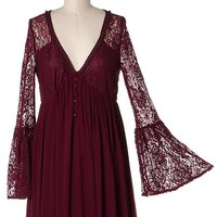 The Jessika Lace Bell Sleeve Boho Style Dress