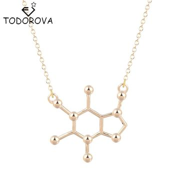 Todorova Gothic Minimalist Caffeine Necklace Gold Silver Molecule Pendant Chemistry Charm Anniversary Graduation Bridesmaid Gift