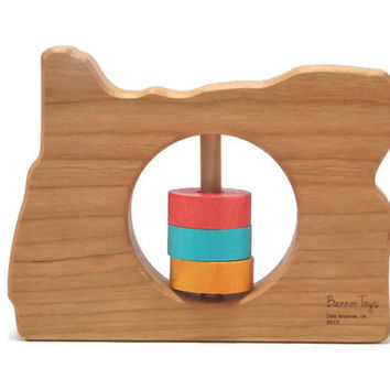 Oregon State Baby Rattle - Modern Wooden Baby Toy - Organic and Natural