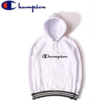 Unisex Champion White Embroidery Fashion Hoodies [103843758092]