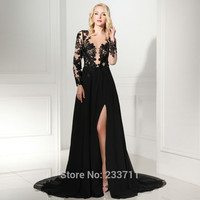 2016 Real Charming A Line Black Chiffon Prom Dresses Full Sleeves See Through Robe De Soiree Appliques Party Dresses S7050401