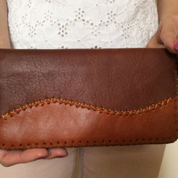 Unisex leather purse / wallet, handmade , hand stitches