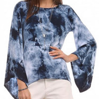 Moonlit Night Tie Dye Bell Sleeve Top - Urban X - Blue