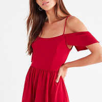 UO Cold-Shoulder Crepe Romper   Urban Outfitters