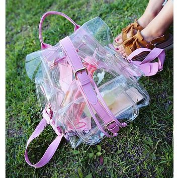 Jelly Backpacks Bag Summer New Transparent Bags Korean Version Casual Female Shoulder Bag Clear Personalized DF473