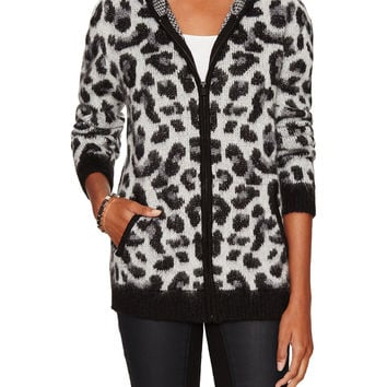 Maje Women's Hooded Animal Print Cardigan - Black -
