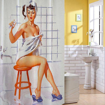 Sexy Retro Vintage Pin Up Girl Shower Curtain