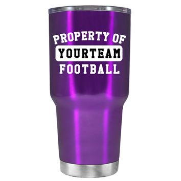 TREK Property of Football Personalized on Violet 30 oz Tumbler Cup