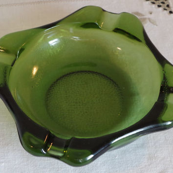 Mid Century Green Glass Ashtray- Heavy Square Pebbled Cigar Ashtray- Art Glass Decor- Blenko Style