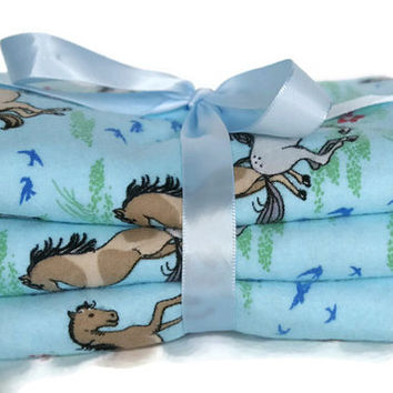 Flannel burp cloths set baby burp cloth baby girl boy burp cloth gender neutral cloth diaper new baby gift horse baby western bedding