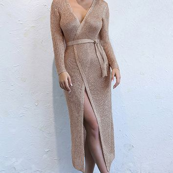 Holding Tight Brown Long Sleeve Sweater Knit Cross V Neck Wrap Casual Midi Dress