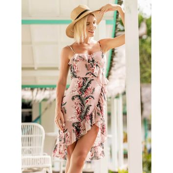 Pink Sleeveless Ruffle Floral Print Asymmetrical Dress