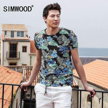 Simwood Summer Hawaiian T Shirts Mens Short Sleeve Print O Neck Slim Fit 100% Pure Cotton Tees Plus Size Td1181