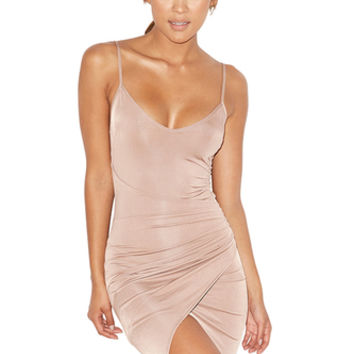 'Karma' Taupe Silky Jersey Draped Slip Dress - Mistress Rocks