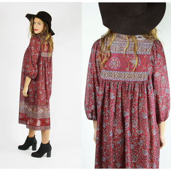 red maroon 70's floral BOHO dress tent maxi hippie bohemian festival trapeze novelty os oversized MIDI dress