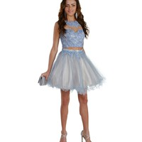 Promo-lexi-lt. Blue Short Prom Dress