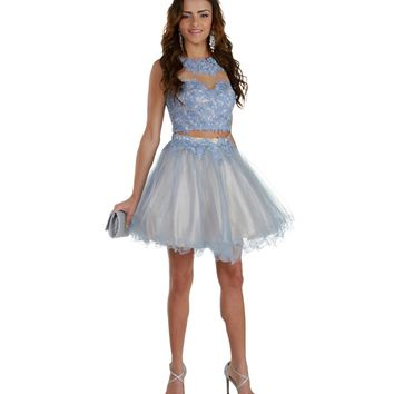 Lexi-lt. Blue Short Prom Dress