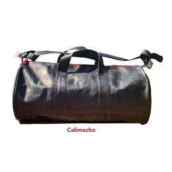 purete👍🏽 all leather weekend duffel bag with colored accents