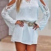 White Cold Shoulder Long Sleeve Mini Dress
