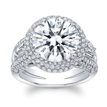 Women's Platinum engagement ring with pave halo Round Diamonds and 6 ct Center White Sapphire