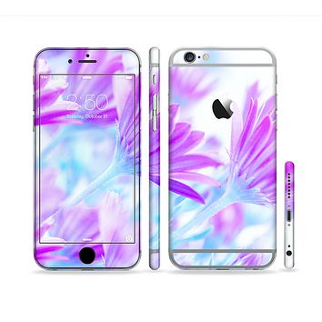 The Vibrant Blue & Purple Flower Field Sectioned Skin Series for the Apple iPhone 6
