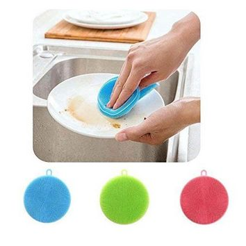 Hoard Silicone Dish Washing Sponge Kitchen Scrubber Soft Cleaning Antibacterial Brush Z40