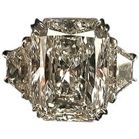 12.35 Carat Radiant Cut Diamond Platinum Ring