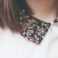 Vintage Shirt with Sparkly Collar by PrinceandTower on Etsy