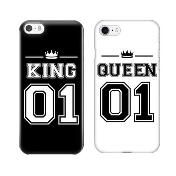 King 01 Queen 01 Couple Phone Case For iPhone X 10 Cute Matching Hard PC Phone Bags Covers For iPhone 5 5S SE 6 6S Plus 7 8 Plus