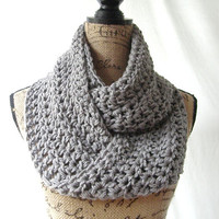 Erin Medium Gray Grey Infinity Crochet Scarf Cowl Loop Circle Accessory
