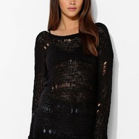 Staring At Stars Shredded Tunic Sweater - Urban Outfitters