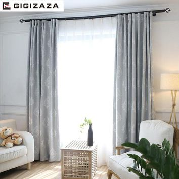 Paisley jacquard ctton blinds fabric curtain for livingroom grey pink GIGIZAZA black out custom size american style for bedroom