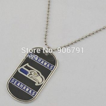 50pcs a lot  Enamel Sports  Seahawks Pendant Customized Personalized Dog Tag Necklace for Men