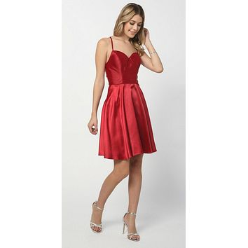 Short Criss-Cross Strap Back Cocktail Homecoming Dress Red