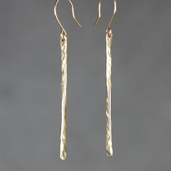 14k gold filled hammered texture linear long stick dangling earrings Bridesmaid gifts Free US Shipping handmade Anni designs