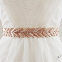 HANABI in Rose Gold - Metallic Bullion Embroidered Bridal Belt, Wedding Sash